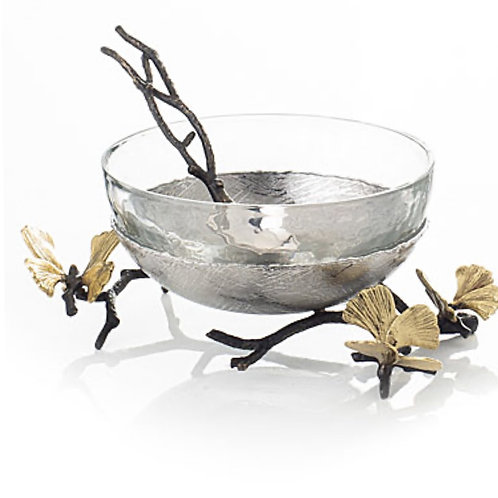 MICHAEL ARAM BUTTERFLY NUT BOWL WITH SPOON