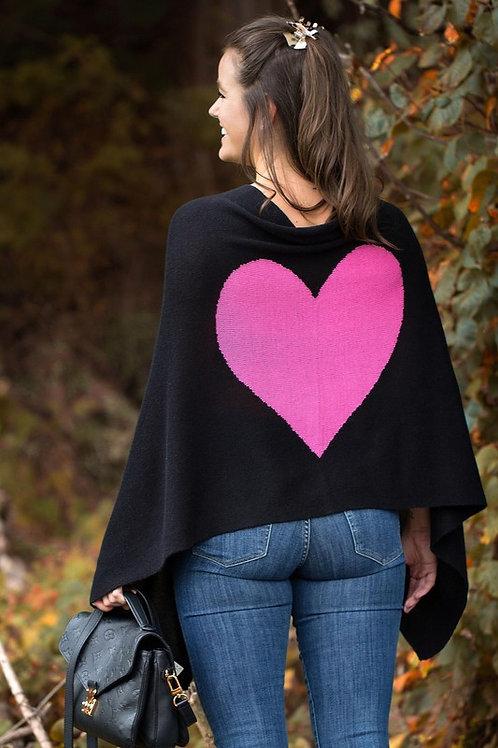 CASHMERE/SILK HEART PONCHO