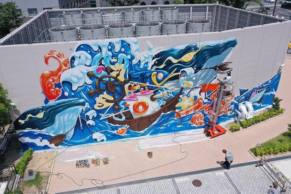 ウォールアート(壁画)の制作風景byWALL SHARE