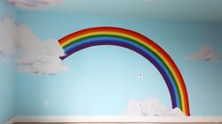 rainbow cloud room mural