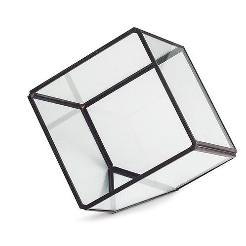 Terrário preto em vidro e latão