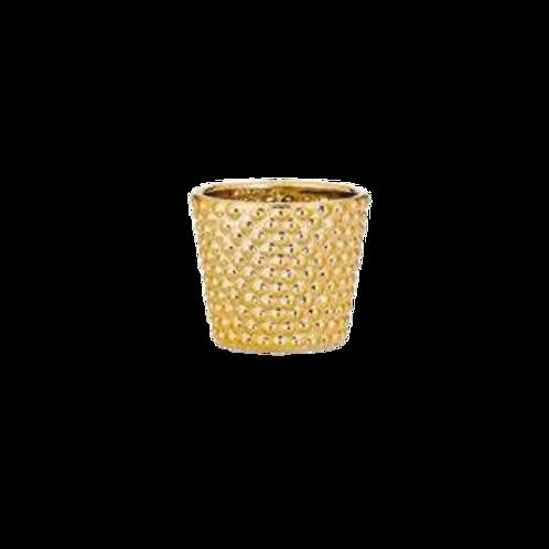 Cachepô em Cerâmica Dourado