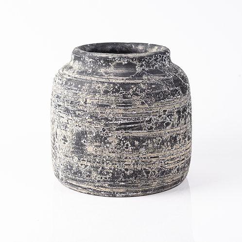Vaso de Cimento Texturizado Preto