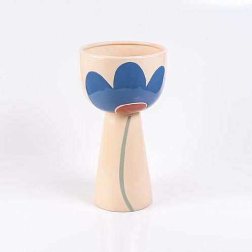 Vaso Alto de Cerâmica Flor Azul
