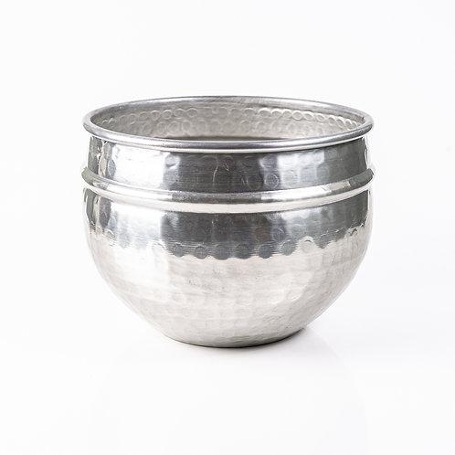 Vaso de Latão Martelado Prata