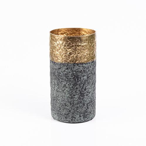 Vaso de Metal Texturizado Fume e Dourado