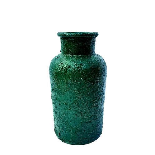 Garrafa Texturizada Verde de Vidro
