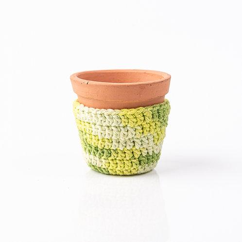 Mini Vaso de Terracota e Cachepot de Crochê Verde P