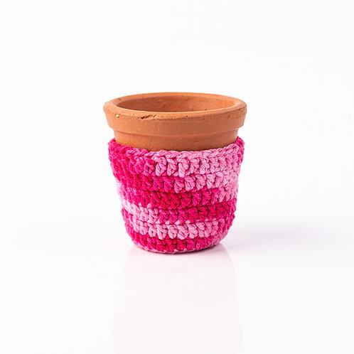 Mini Vaso de Terracota e Cachepot de Crochê Pink P