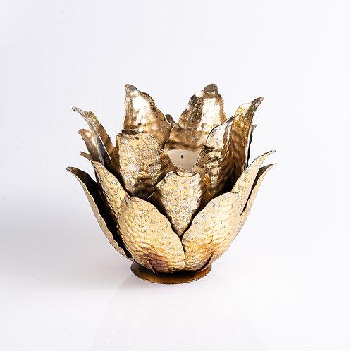 Castiçal de Ferro Flor Dourado