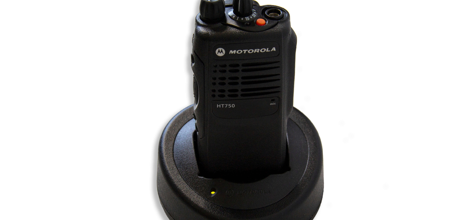 Stage Ops Motorola HT750 two-way radio in single-unit charger
