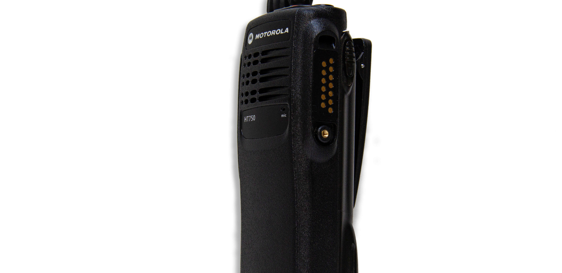 Side view Stage Ops Motorola HT750 two-way radio