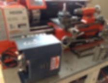 Garage door repair workshop- lathe