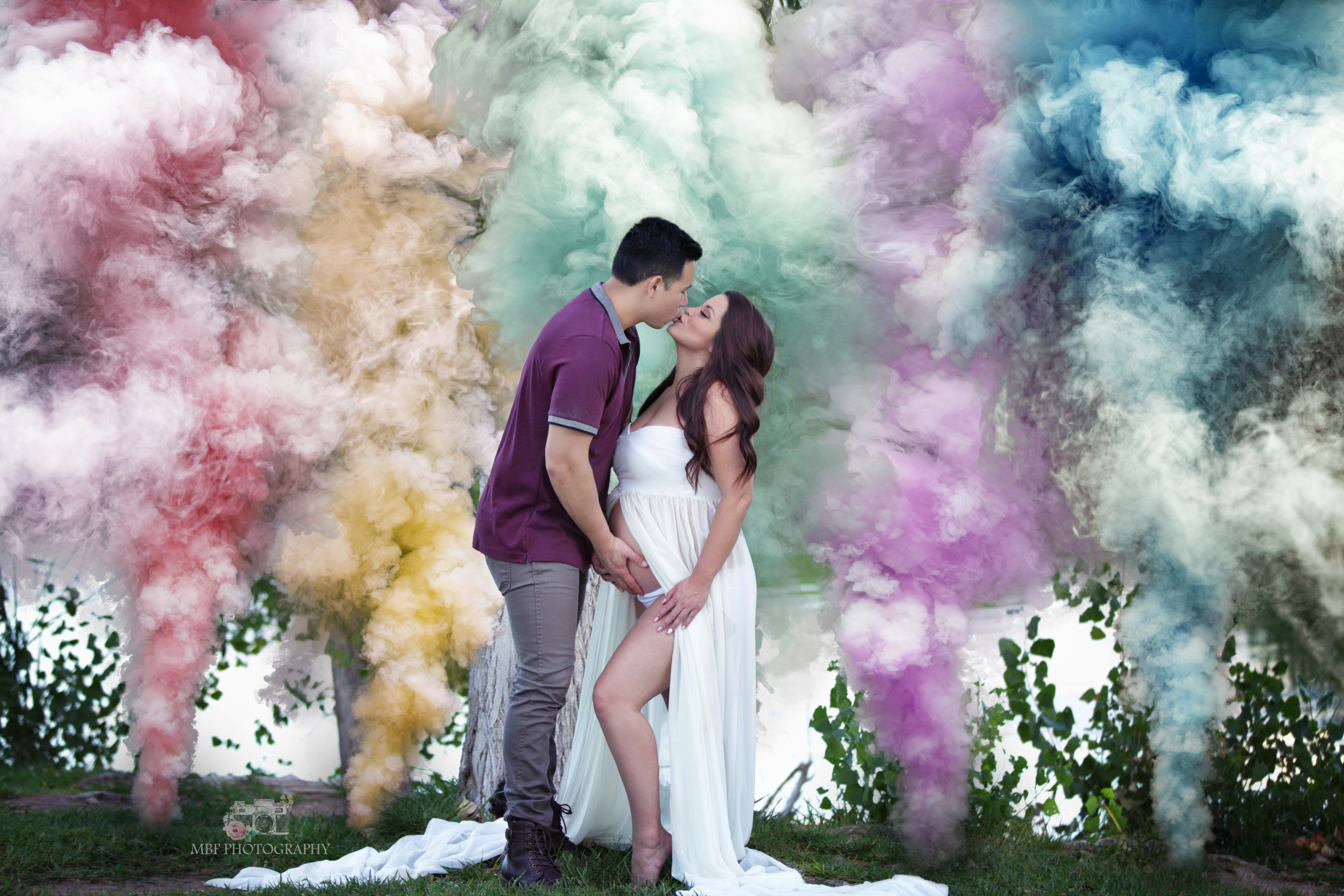 Rainbow baby,maternity  Smoke bomb photo