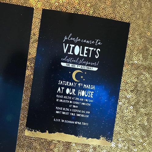 Celestial Sparkle party invitations
