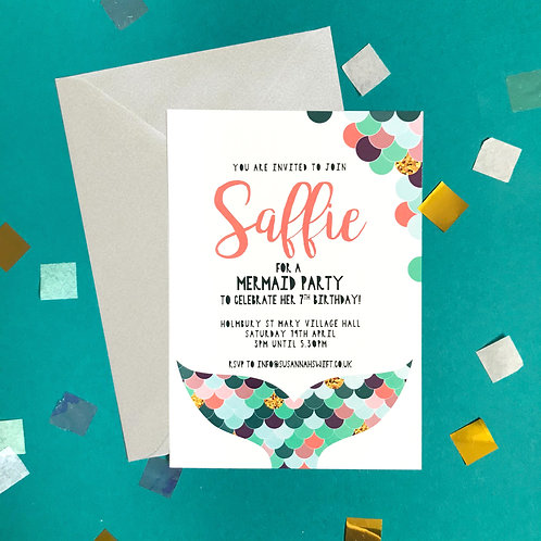 MERMAIDS - pack of 8 invitations