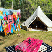 Festival theme bell tent, backdrop and b