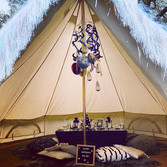 Cosmic chill out tent with picnic