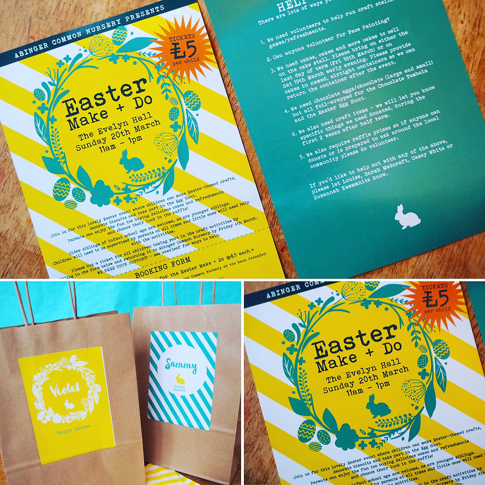 Just getting ready to create this year's fair literature. Loved doing this sunny design with posters, flyers, signage and kraft goodie bags with all the kid's names on them.