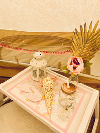 Pink + Gold bell tent - tray