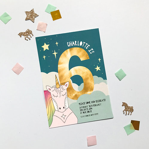DREAMY UNICORN - pack of 8 invitations