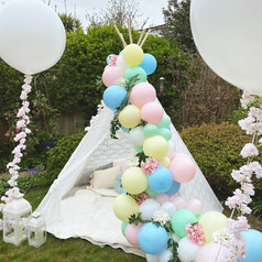 Easter teepee with giant balloons