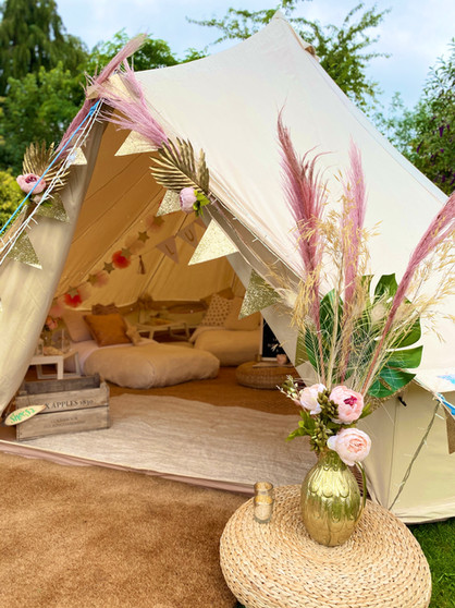 Pink + Gold bell tent