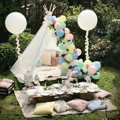 Easter picnic with lace teepee