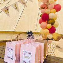 Pink Princess treat bags and bunting
