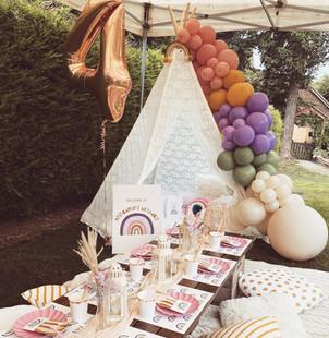 Boho Rainbow picnic + teepee