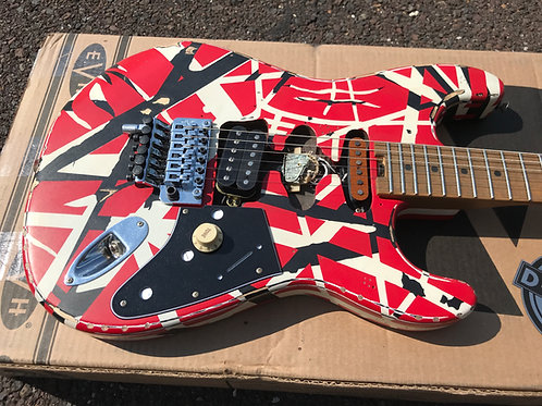 EVH Striped Series Frankenstein Frankie, Red with Black Stripes Relic