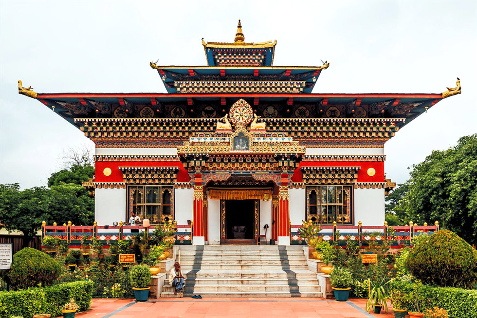 colorful decorated facade Bhutanese styl