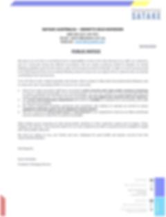 COVID - 19  Public Notice (Satake Austra