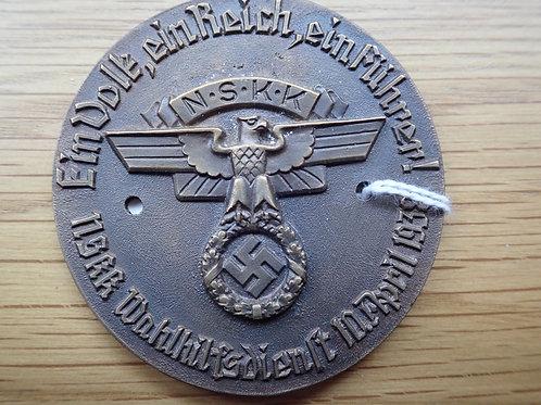 RARE N.S.K.K  AWARD 1936 65 mm 10.3.1938