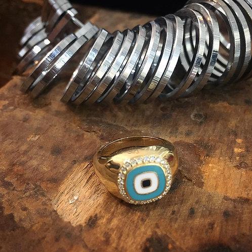 טבעת חותם ״מטרה״ לזרת זהב צהוב - בהזמנה מיוחדת