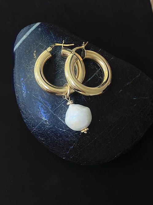 עגילי האנה זהב עם פנינת בארוק