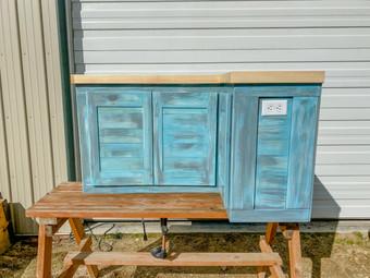 Custom made blue cabinet.