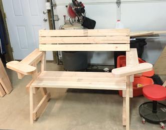 Custom wood bench.