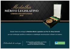 Nesta 4ª feira (21.11) às 10h, Dr. Beny Schmidt será condecorado com a MEDALHA MÉRITO LEGISLATIVO