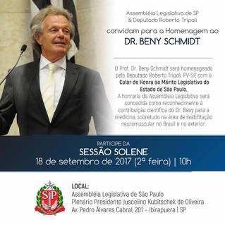 Prof. Dr. Beny Schmidt será homenageado pela Assembleia Legislativa do Estado de São Paulo e pelo De