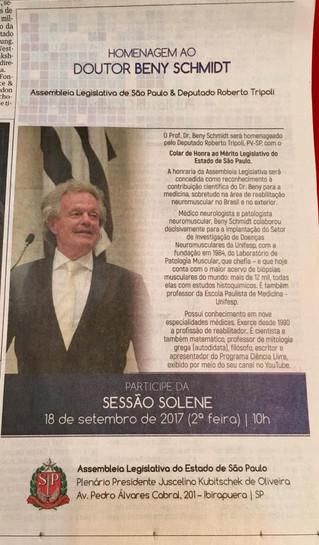 Colar de Honra ao Mérito Legislativo do Estado de São Paulo é destaque nos jornais Folha de São Paul