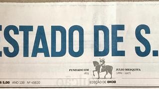 O prêmio é destaque no jornal O Estado de São Paulo de hoje (12.09.2018).