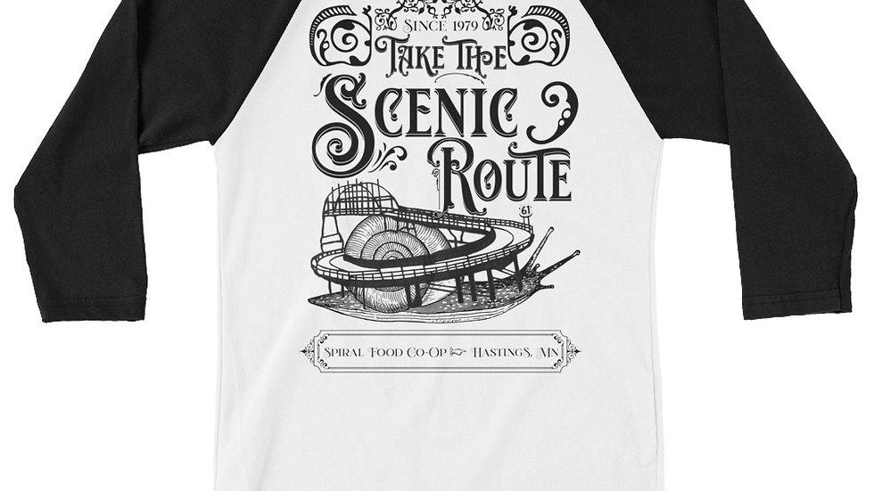 Take the Scenic Route - Spiral Fundraiser Shirt - 3/4 sleeve raglan shirt
