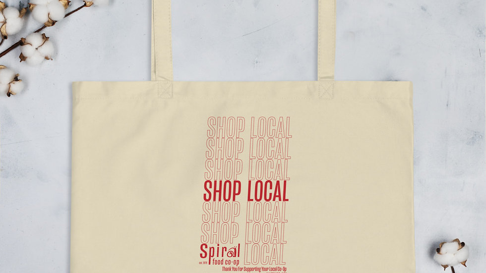 Shop Local Fundraiser Tote - Printed Front & Back - Large organic tote bag