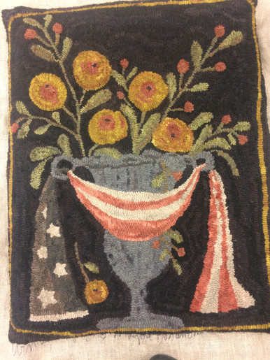 Flag Urn with Flowers