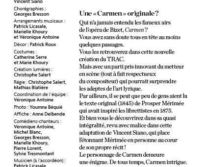 Un autre spectacle : Carmen ou la marge libre