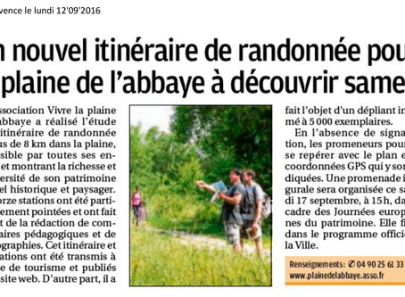La Provence 12/09/2016 - Un nouvel itinéraire de randonnée à découvrir