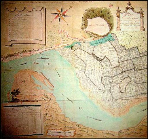 (3) plan géométral et figuratif des créments plantés en saulées formées par le Rhosme à Villeneuve lez Avignon contenant environ 60 salmées. In Got Christelle « un cas historique de paludisme grave : l'épidémie de 1776 à Villeneuve lez Avignon » Thèse pour l'obtention du grade de Docteur en Médecine 1997