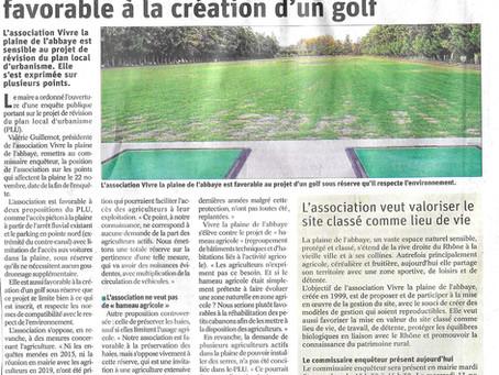 Article Vaucluse Matin PLU - L'association favorable au projet d'un golf - 5 nov 2019