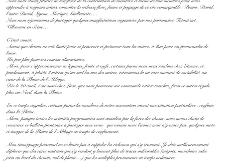 """En guise de BULLETIN, des """"confinés"""" de la Plaine (et autres lieux), voici photos et états d'âme !"""